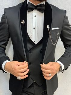 Acacia Black Slim Fit Velvet Shawl Collar Tuxedo – No-Gender Costume Garçon, Mode Costume, Costumes, Wedding Dress Men, Wedding Dresses Men Indian, Wedding Tuxedos, Best Wedding Suits For Men, Wedding Poses, Wedding Ideas