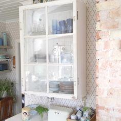 """Wish you all a lovely evening. I Love my new cupboard. Made from recycled material and an old fancy window.  Njuter min kväll av att titta på mitt fina…"""