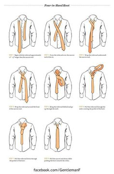 Fashion infographic : How to tie a tie: The Four-in-Hand Knot Four In Hand Knot, Fashion Infographic, 3d Video, Stuff And Thangs, Guy Stuff, Create Shirts, Gentleman Style, Southern Gentleman, How To Wear Scarves