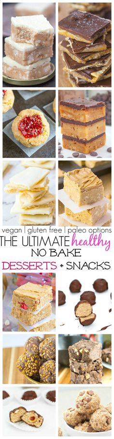 The Ultimate (Healthy) No Bake Dessert and Bars which ALL take less than 10 minutes to whip up! vegan, gluten free, paleo options!