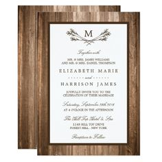Monogram Wedding Invitations Country Rustic Monogram Branch & Wood Wedding Card