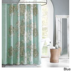 Add style to your bathroom with Brady's large scale floral print. The sea foam blue adds a soft touch of color to your bathroom decor.