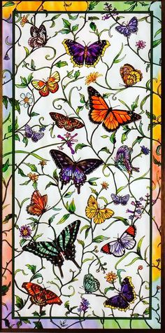 Image detail for -magnificent new art glass window panel rainbow butterflies-I love this! Would make a beautiful quilt too Stained Glass Designs, Stained Glass Panels, Stained Glass Patterns, Leaded Glass, Stained Glass Art, Butterfly Stained Glass, Rainbow Butterfly, Butterfly Art, Mosaic Art