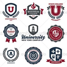 University and college crests, vector graphics.