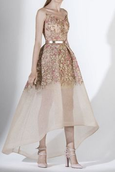 SK by Saiid Kobeisy 3433 Rose Gold Strapless Floral High Low Gown Bridesmaid Dresses, Prom Dresses, Formal Dresses, Gold Dress, White Dress, Mullet Dress, Saiid Kobeisy, High Low Gown, Occasion Dresses
