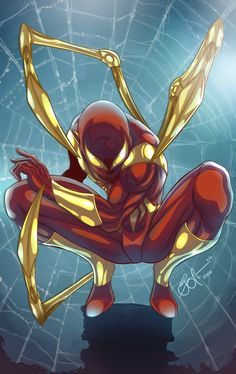 The Iron Spiderman Suit by on Deviant Art Before the events of the Superhuman Civil War, Tony Stark fabricated a new red and gold costume for Peter, utilizing much of the same. Marvel Comics, Marvel Heroes, Marvel Avengers, Comic Movies, Comic Books Art, Comic Art, Marvel Universe, Spiderman Civil War, Spiderman Kunst