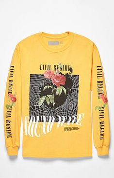 Stand out on the streets in the stylish Civil Sound Waves Long Sleeve T-Shirt. This sick tee has a crew neck, long sleeves with ribbed cuffs, and custom graphics on the front and sleeves. Yellow Tees, Yellow T Shirt, Pastel Outfit, Yellow Long Sleeve Shirt, Long Sleeve Shirts, Graphic Tees, Graphic Sweatshirt, Personalized T Shirts, Apparel Design