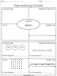 FREE printable where students practice representing division through grouping models, arrays, number lines, and repeated subtraction! Maths 3e, Multiplication And Division, Math Fractions, Primary Maths, Dividing Fractions, Math Strategies, Math Resources, Division Strategies, Math Division