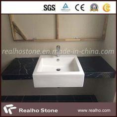 China-Black-Marquina-Marble-Vanity-Top-with-Sink-Installed.jpg (300×300)