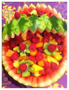 3 tiered melon cake made from Watermelon honeydew and cantaloupe