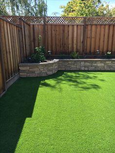 Retaining walls and turf