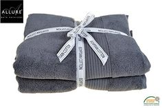 Egyptian Cotton Towels 2 Pack Towel Bale with Bath Sheets 150 x 90cm Supersoft SPA Towel in Grey / Charcoal