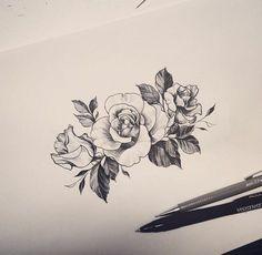 fiori-tattoo-tre-splendide-rose-bianco-nero-foglie-disegnate-foglio-bianco