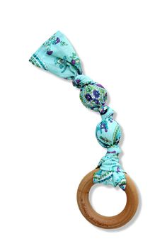 Natural Wooden Teething Ring - Cotton Teething Toy - Blue & Purple Paisley - Organic Montessori Toy
