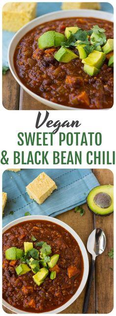 Vegan Sweet Potato & Black Bean Chili- Mildly spiced, kid-friendly and nutrient dense. (Sweet Recipes Dinner)