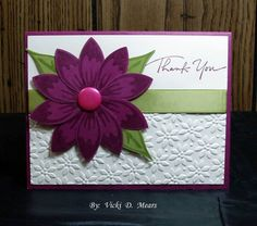 QFTD52 Rich Blossoms of Thanks by vdm - Cards and Paper Crafts at Splitcoaststampers; Build a Blossom stamp set; rich razzleberry, white and old olive cs and inks; old olive satin ribbon; build a blossom punch, petals a plenty ef