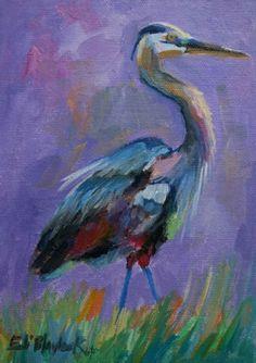 OIL PAINTIG OF BLUE HERON, original painting by artist Elizabeth Blaylock   DailyPainters.com