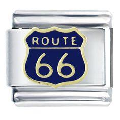 Italian Charms - blue route 66  italian charm bracelet bracelet link Image.