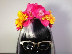FLOWER CROWN Flower Headband Hot Pink by LaCatrinaDeSanDiego, $20.00
