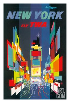 New York - Times Square - Trans World Airlines Fly TWA Giclee Print at Art.com