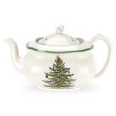 classic Spode Christmas Tree pattern teapot with green trim, acorn knob ... pattern designed 1938, porcelain, UK