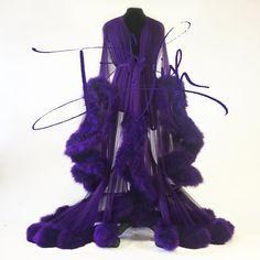Image of Imperial Grape Cassandra Dressing Gown Bridal Lingerie, Luxury Lingerie, Bridal Lace, Fancy Robes, Cute Dresses, Cute Outfits, Fru Fru, Vintage Nightgown, Lingerie Sleepwear