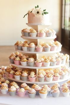 And, of course, these pastel cupcakes. 21 Beautiful Wedding Desserts That Are Better Than Traditional Cake Small Wedding Cakes, Floral Wedding Cakes, Amazing Wedding Cakes, Wedding Cake Rustic, Wedding Cakes With Cupcakes, Wedding Cake Designs, Wedding Desserts, Fun Desserts, Cupcake Cakes