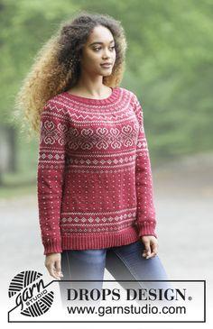 Gebreide trui met ronde pas en veelkleurige Noors patroon, van boven naar beneden gebreid. Maten S - XXXL. Het werk wordt gebreid in DROPS Merino Extra Fine.