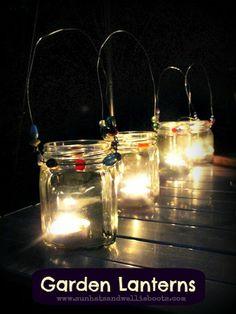Mason Jar Garden Lanterns by eddie Hurricane Lanterns, Jar Lanterns, Mason Jar Lids, Mason Jar Crafts, Crafts To Do, Decor Crafts, Kids Crafts, Mason Jar Garden, Barn Parties