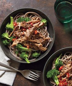 Serve this slow-cooked pork—flavored with hoisin, soy sauce, ginger, and sesame oil—with udon or soba noodles. Get the recipe for Asian Pork With Noodles and Broccoli .