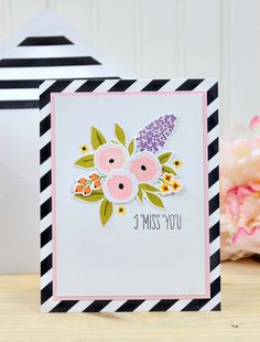 Featuring high quality photopolymer clear stamps and supplies for crafting. Thing 1, Miss You Cards, Card Patterns, Copics, Card Tags, Paper Cards, Flower Cards, Clear Stamps, The Fresh