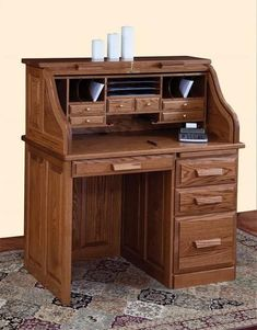 Amish Traditional Small Roll Top Desk An old fashioned favorite. Everyone loves the option to close down the tambour top to conceal the work in progress on your desk! Solid wood construction. Amish made in America. #rolltopdesk
