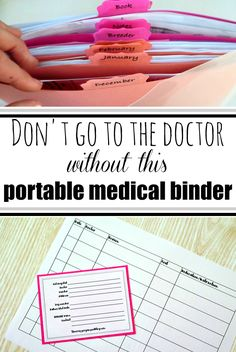 Keep all your family's medical bills organized with this easy to make portable medical binder. Even fits in your purse to take with to doctors appointments! binder Make a Portable Medical Binder // Paper Organization Series binder Emergency Binder, Household Binder, Household Notebook, Home Binder, Binder Organization, Medical Billing, Medical Humor, Medical Information, Medical History
