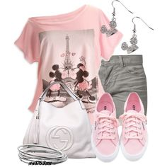 A fashion look from April 2013 featuring pink shirt, jean shorts and gucci handbags. Browse and shop related looks. Cute Disney Outfits, Disneyland Outfits, Disney Bound Outfits, Cool Outfits, Summer Outfits, Casual Outfits, Disney Clothes, Look Fashion, Fashion Outfits