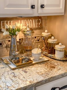 Coffee Station Kitchen, Coffee Bars In Kitchen, Coffee Bar Home, Coffee Area, Coffee Nook, Coffee Time, Inspire Me Home Decor, Glass Canisters, Glass Jars