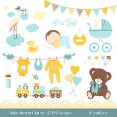 "Baby Shower Clip Art - ""BABY SHOWER"" Clip Art. Baby Boy.Birth Announcement. Baby Shower Invitation. Banners. Teddy Bear.Commercial Use. by MoonberryDigitalArt on Etsy https://www.etsy.com/uk/listing/231620286/baby-shower-clip-art-baby-shower-clip"