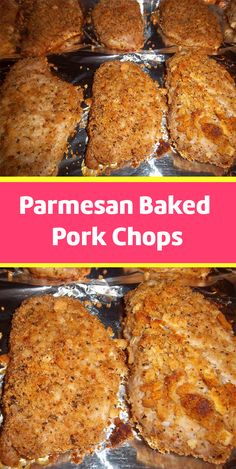 Parmesan Baked Pork Chops Bake up some delicious Parmesan Pork Chops tonight. The crispy herb Parmesan crust keeps them moist and delicious on the inside. This easy dinner idea from home kitchen ideas will satisfy everyone around the table! Easy Pork Chop Recipes, Pork Recipes, Baking Recipes, Pork Meals, Parmesan Recipes, Meat Recipes, Baked Pork Chops, Baked Parmesan Pork Chops, Chops Recipe