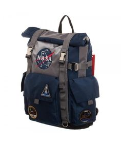 Outdoor Travel gear NASA Roll-Top Backpack - Blue and Grey Backpack - Luggage amp; Travel Gear, Backpacks, NASA Roll-Top Backpack - Blue and Grey Backpack - Backpack Outfit, Fashion Backpack, Diaper Backpack, Diaper Bags, Roll Top Backpack, Star Wars Backpack, Moda Geek, Mochila Adidas, Nasa Clothes