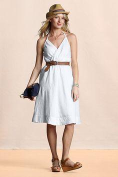 Women's Flirty Linen Halter Dress from Lands' End