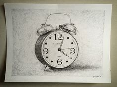 Antique alarm clock drawing. Fine art. Pen and ink 18 x 24 inches