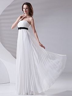 Strapless Empire Chiffon Evening Dress with Satin Bow Sash'
