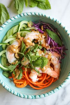 These quick and easy Spiralized Summer Roll Bowls with Hoisin Peanut Sauce made with spiralized carrots and cucumbers were inspired by my shrimp summer rolls. I wanted to take those yummy rolls (which can be a bit more time consuming) and turn them into a super-quick meal, less than 10 minutes!