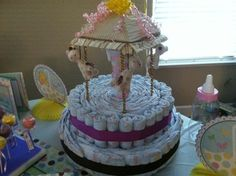 Carousel diaper cake (made with the mobile)