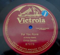 Enrico Caruso One Sided 78 Victrola 87070 For You Alone Bat Wing Label