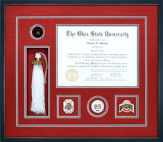 5f27d1a066f A Custom Ohio State University Diploma Frame With Memorabilia  diploma   theohiostate Certificate Frames