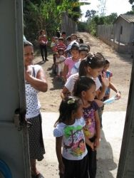 Waiting to come in to the festival we hosted for the community of La Magdalena.  Mission trip 2013
