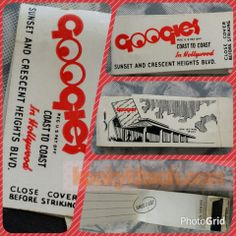 Vintage GOOGIES COAST TO COAST IN HOLLYWOOD SUNSET/CRESCENT HEIGHTS BLVD matchbook