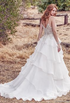maggie sottero fall 2017 bridal spaghetti strap sweetheart neckline heavily embellished beaded bodice layered skirt romantic princess a line wedding dress chapel train bv -- Maggie Sottero Fall 2017 Wedding Dresses Sottero And Midgley Wedding Dresses, Wedding Bridesmaid Dresses, Ball Dresses, Ball Gowns, Long Dresses, Unconventional Wedding Dress, Bridal Dresses Online, Blush Bridal, Designer Wedding Gowns