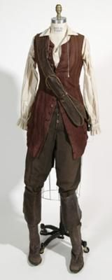 Reference Pic for Homemade Elizabeth Swann Adult Pirate Halloween Costume Idea: This jacket started off as a tablecloth from Goodwill.  The pants came from a pants suit at Goodwill as well.  I wanted to get a really close fitting jacket,