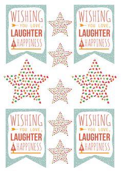 Wishing you love, laughter & happiness - free printable tags #christmas